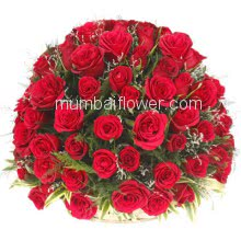 Basket of 50 Red Roses with fillers and greens