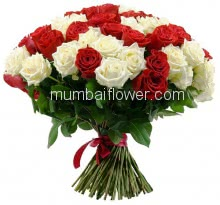 Bunch of 40 Red and White Roses with paper packing