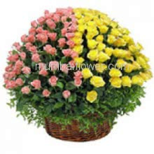 Basket of 100 Pink and Yellow Roses with fillers and greens