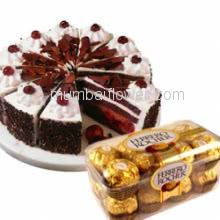 Half Kg. Black forest Cake and 16 Pc Ferrero Rocher Chocolate