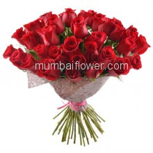 Bunch of 35 Red Roses with fillers and Paper Packing