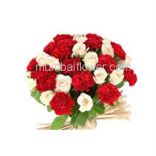 Bunch of 15 White Roses and 15 Red Carnation with Plastic Cellophane packing