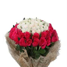 Bunch of 40 Red and White Roses with Jute packing