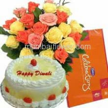 Bunch of 20 Yellow and Pink Roses , Half kg. Pineapple Cake and Small Cadbury Celebration
