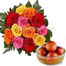 Bunch of 12 Mixed Colored Roses with Plastic Cellophane packing and 1 kg. Gulab jamun