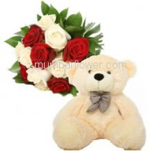 Bunch of 12 Red and White Roses with Plastic Cellophane packing and 12 Inch Teddy