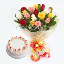 Bunch of 12 Mixed Colored Roses with  and Half kg. pineapple Cake