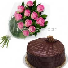 Bunch of 12 Pink colored Roses with Plastic Cellophane packing and Half Kg. Chocolate Truffle cake