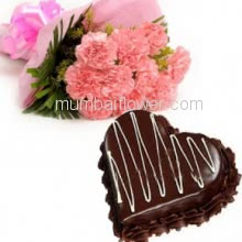 Bunch of 12 pink carnation with Plastic Cellophane packing and 1 Kg. Heart Shape Chocolate Truffle Cake