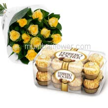 Bunch of 12 Yellow Roses  and 16 pc Ferrero Rocher Chocolate