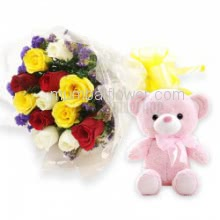 Bunch of 12 Mixed Colored Roses with Plastic Cellophane Packing and 6 inch Teddy