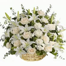 Basket of 20 White Roses, 10 White Carnation and 5 Pc White Lilies with fillers and greens