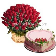 Basket of 50 Red Roses with fillers and greens and 1 Kg. Heart Shape Strawberry Cake