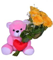 Bunch of 6 Yellow Roses with Plastic Cellophane Packing and 6 inch Teddy . <b>Please note:</b> we may substitute color in case of unavailability