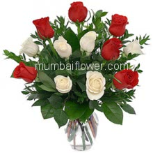 Glass Vase with 12 Red and White Roses with fillers and greens