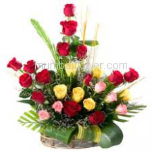 Arrangement of 25 Mixed Colored Roses with fillers and greens