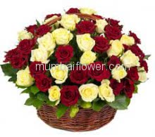Basket of 60 Red and Yellow Roses with fillers and greens