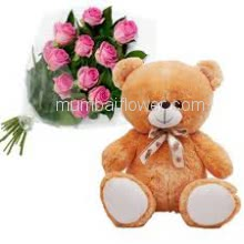 Bunch of 10 Pink Roses with Plastic Cellophane Packing and 12 Inch Teddy