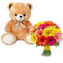 Bunch of 20 Mixed Colored Gerberas with Plastic Cellophane Packing and 12 Inch Teddy