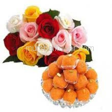 Bunch of 12 Mixed Colored Roses with Plastic Cellophane Packing and Box of Half Kg. Motichur ladoo