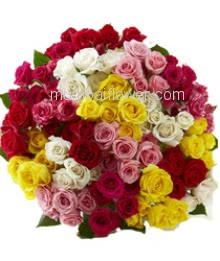 Bunch of 100 Mixed Color  Roses nicely decorated with fillers and Paper packing