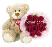 Bunch of 15 Red Roses with paper packing and 15 Inch teddy