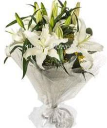 Bunch of 3 PC White Oriental Lilies with Plastic Cellophane Packing