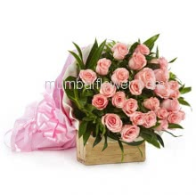 Bunch of 30 Pink Roses nicely decorated with  Paper Packing and Ribbons