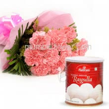 Bunch of 10 Pink Carnation with Plastic Cellophane packing and Rasgulla 1 Kg.