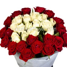 Hand Bunch of 40 Red and White Roses with color Paper packing. <b>Please note:</b> we may substitute color in case of unavailability