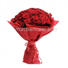 Bunch of 35 Red Roses nicely decorated with fillers Ribbons and Red paper packing