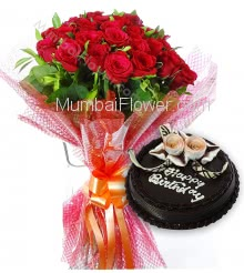 Bunch of 20 Red Roses with Plastic Cellophane packing and Half Kg. Chocolate Cake