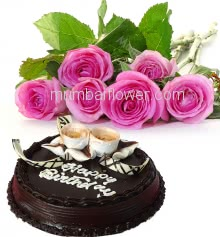 Bunch of 6 Pink Roses with fillers and ribbons and Half Kg. Chocolate Cake