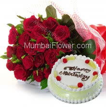 Bunch Of 20 Red Roses With Plastic Cellophane Packing And Half Kg Pineapple Cake