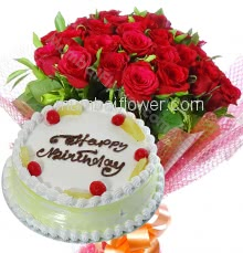 Bunch of 25 Red Roses with Plastic Cellophane packing and Half Kg. Pineapple cake