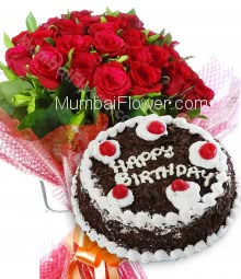 Bunch of 20 Red Roses with Plastic Cellophane packing and Half Kg. Black Forest cake