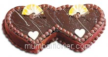 3 Kg. Delicious Twin Heart Chocolate Cake. Please order 1-2 Days in advance.
