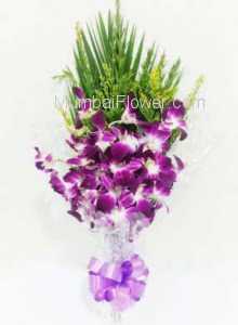 Bunch of 6 Purple Orchids with Plastic Cellophane packing
