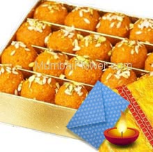 Diwali Combo 1 Kg. Motichur Laddu, with 1 Diwali Greeting Card