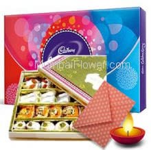 Small Cadbury Celebration box with Half Kg. Mixed Mithai and 1pc Diwali Greeting Card