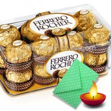 Diwali Combo of 16pc Fererro Rocher Box with 1pc Diwali Greeting Card