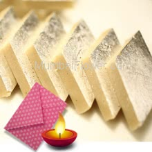 Diwali Combo of 250gms of Kaju Katli and 1pc Greeting Card