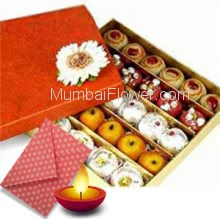 500gms Mixed Mithai with 1pc Diwali Greeting Card