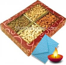 1 Kg. Mixed Dryfruits with 1pc Diwali Greeting Card