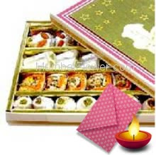 750 gms Mixed Mithai with 1pc Diwali Greeting Card