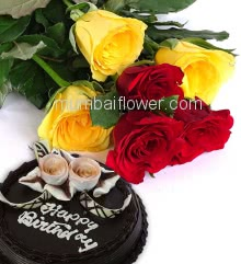 Combo with Bunch of 6 Red and Yellow Roses with fillers and ribbons and Half Kg. Chocolate Cake