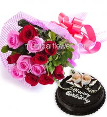 Bunch of 12 Red and Pink Roses with Plastic Cellophane packing and Half Kg. Chocolate Cake Combo