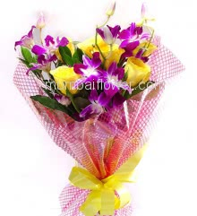 Bouquet of 6 Yellow Roses and 5 Purple Orchids with Plastic Cellophane packing