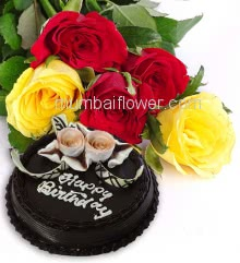 Bunch of 10 Red and Yellow Roses with fillers and ribbons and Half Kg. Chocolate Cake combo