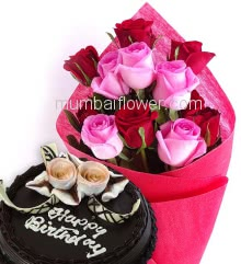 Bunch of 12 Red and Pink nicely decorated with Paper Packing and ribbons and Half Kg. Chocolate Cake